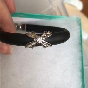 Adorable cubic zirconia black band bracelet